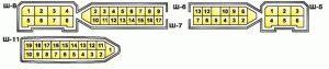 Условная нумерация штекеров в колодках монтажного блока (мотор)