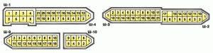 Условная нумерация штекеров в колодках монтажного блока (салон)
