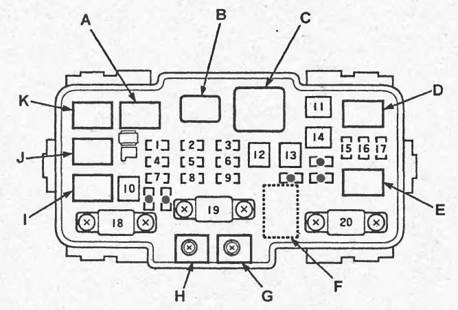 схема предохранителей honda civic ferio 1992
